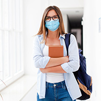 student in a medical mask