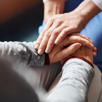 Helping hands to comfort patient